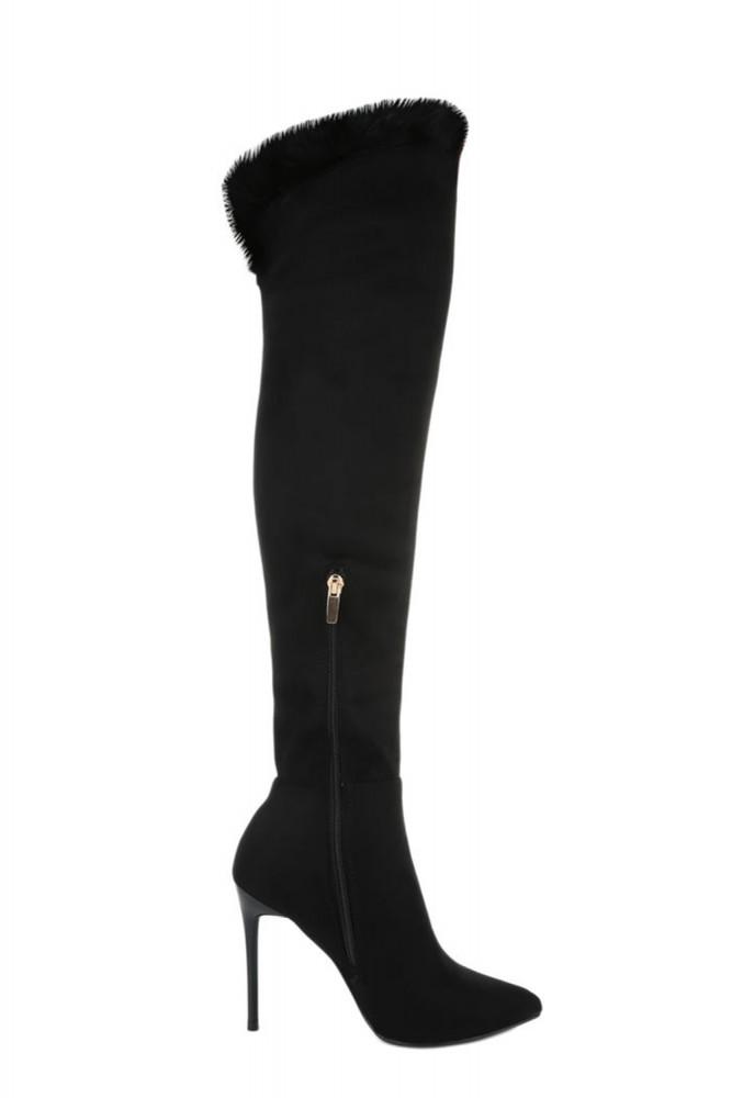 Stivali sopra il ginocchio con tacco alto e bodro di